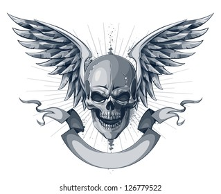 Skull with wings and ribbon. Tattoo style with grunge elements. EPS 8 vector illustration.