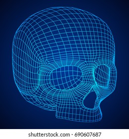 Skull Wireframe Low Poly Mesh. Vector illustration technology live and death concept