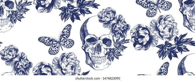 Skull withc and butterflies. Blue on a white background. Typographic graphic print, trendy pattern for fabric, packaging, wallpaper.