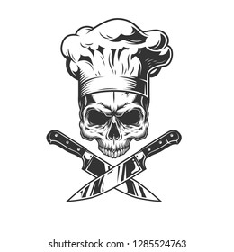 Skull without jaw in chef hat with crossed knives in vintage style isolated vector illustration