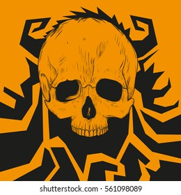 Skull without jaw with horns orange background