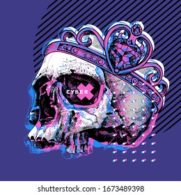 Skull without lower jaw in a crown. Cyberpunk glitch art. Creative poster, t-shirt composition, hand drawn style print. Vector illustration.