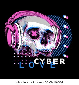 Skull without lower jaw in a headphones. Cyberpunk glitch art. Creative poster, t-shirt composition, hand drawn style print. Vector illustration.