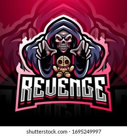 Skull wizard esport gaming mascot logo with voodoo doll