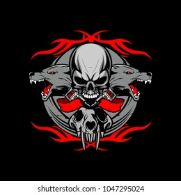 skull with wolf and triball tattoo vector