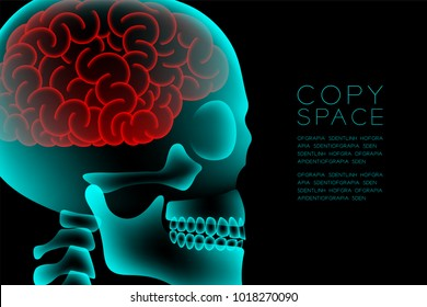 Skull X-ray with Microscope Disease cells in Brain concept design, side view illustration isolated glow in the dark background, with copy space
