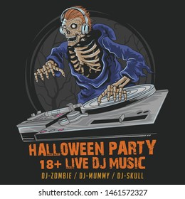 SKULL ZOMBIE DJ MUSIC HALLOWEEN PARTY IN THE DARK NIGHT