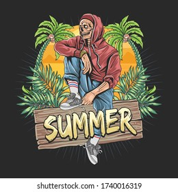 skull zombie summer with tropical leaf and coconut tree artwork vector