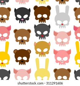 skulls animal seamless pattern. Background for Halloween. Snout bear and a pig. Skull rabbit and cat. Head skeleton pets