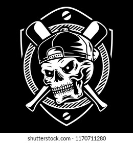 Skulls Baseball Badge Vector