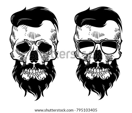 Skulls With Beard Vector File