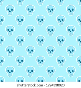The skulls are blue and delicate on a light background.A pattern for the family holiday Halloween. For fabrics, wallpaper, textiles, backgrounds, packaging paper, postcards, stickers.