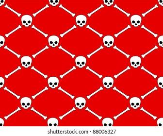 Skulls and Bones on Red Background