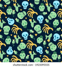 Skulls, cacti, hearts, and hands. A pattern for a family holiday Halloween. For fabrics, wallpaper, textiles, backgrounds, packaging paper, postcards, stickers.