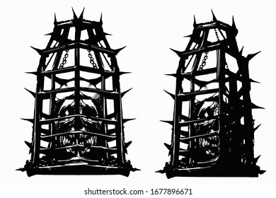 Skulls in cages for torture, in spikes and chains, look directly at the viewer , their glowing demonic bones, they have some teeth knocked out, there are many cracks in the skull.2D illustration.