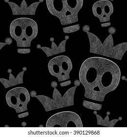 Skulls with crowns on black background - seamless psychedelic pattern. Vector.