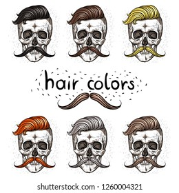 Skulls and different hair colors