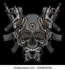 skulls and firearms logo, vector EPS 10
