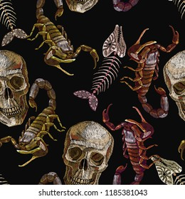 Skulls, fish bone and scorpion embroidery seamless pattern. Gothic medieval art template clothes, t-shirt design, print