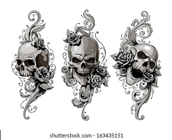 Skulls with floral patterns vector set. Vector illustration.