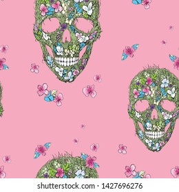 Skulls, flowers and foliage with butterflies. Floral seamless print. Vector illustration. Symbols of day dead. Vintage. Template for paper, textiles, wallpaper