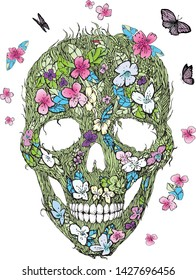 Skulls, flowers and foliage. Floral vector  illustration. Symbols of day dead. Vintage. Template for paper, textiles, wallpaper