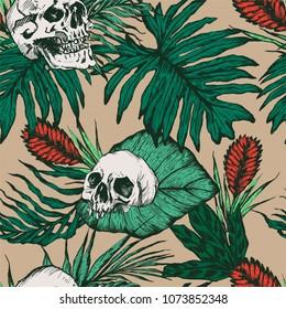 Skulls with foliage