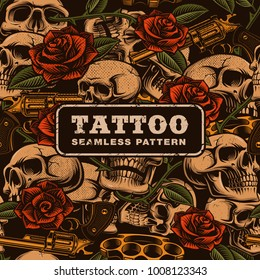 Skulls with guns and roses pattern. Old school tattoo seamless background.