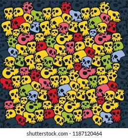 Skulls Halloween poster background.