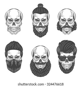 Skulls with Hipster hair and beards, fashion vector illustration set.
