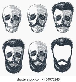 Skulls with Hipster hair and beards, vector illustration set.