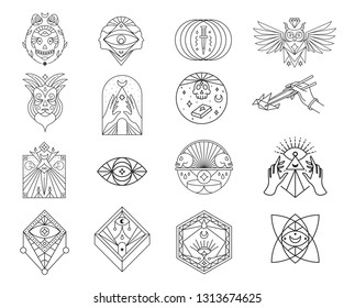 Skulls, occult, owl, eye, mask, dagger line icon set. Symbols collection, geometric labels and badges, logo illustrations, scary signs linear pictograms isolated on white background.