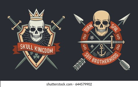 Skulls on shield logos of skull kingdom and sail brotherhood with arrows and swords crossed.  Vector illustration.