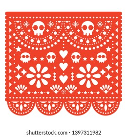 Skulls Papel Picado vector design, Mexican paper cut out pattern - Dia de Los Muertos, Day of the Dead. Papel Picado orange geometric decoration, traditional ornaments from Mexico - Halloween
