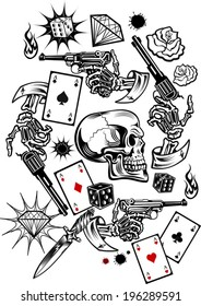 Skulls with playing cards and Guns. Vector illustrations.