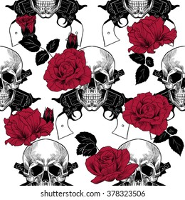 Skulls, red roses and pistols.Vector seamless pattern