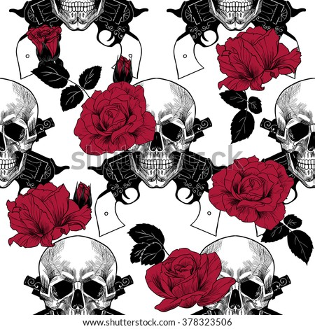 Skulls red roses and