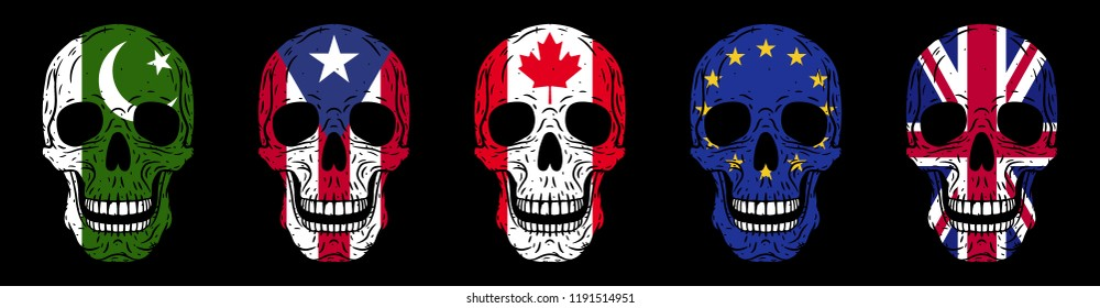 Skulls set. Humans skulls with flags isolated on black background
