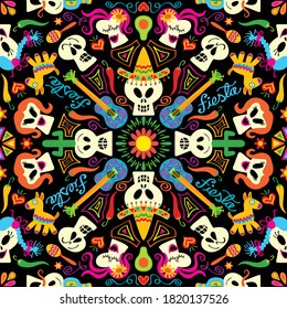 Skulls and symbols form a traditional Mexican motif in honor to the Day of the Dead. Guitars, cactus, tequila bottles, hearts, stars, flowers, hats, avocados, maracas and piñatas in mandala style