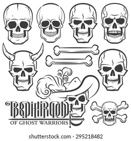 Skulls of various designs - with rapier, in the Hat, with horns. Jolly Roger. Ideal for tattoo.