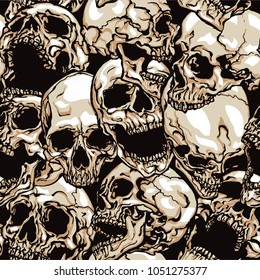 Skulls vector seamless pattern on black background. Hand drawn vector illustration in modern style tattoo.