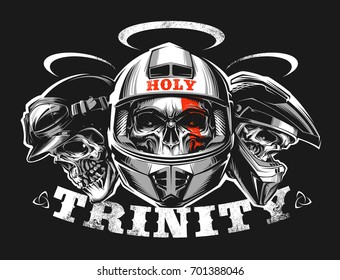 Skulls wearing a motorcycle helmet