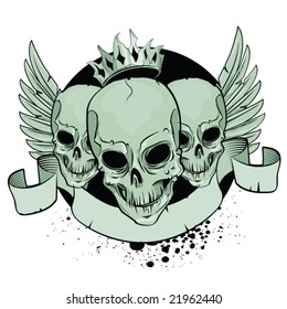 Skulls with wings and ribbon