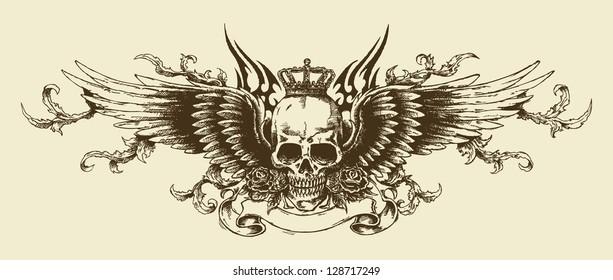 Skulls Wings Tattoo
