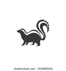 Skunk minimalist silhouette logo design illustration