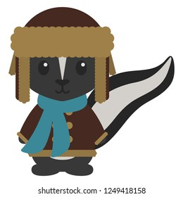 Skunk in Winter Clothes - Skunk wearing brown trapper hat, brown coat, and blue scarf