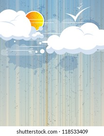 sky abstract retro background with clouds and sun