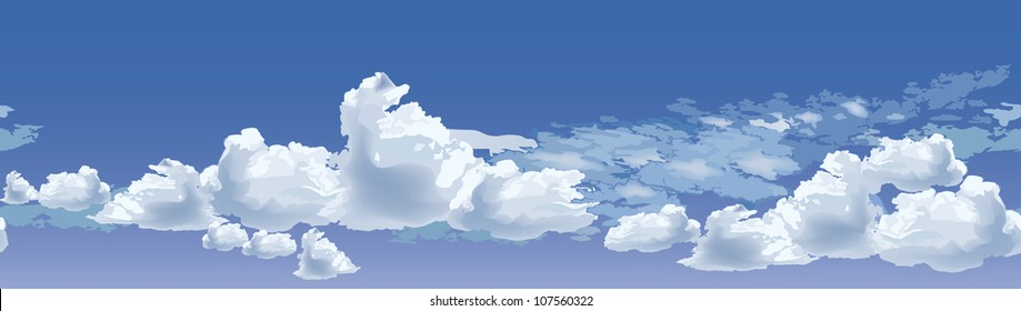 Sky background border. Seamless vector background. Clouds seamless.