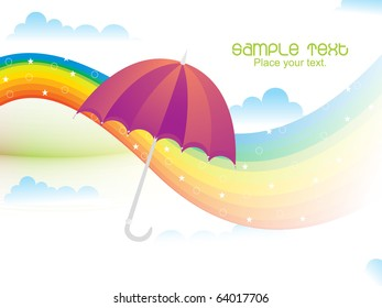 sky background with cloud, rainbow and isolated umbrella
