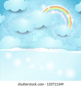 Sky background, fantasy illustration with copy space. Vector